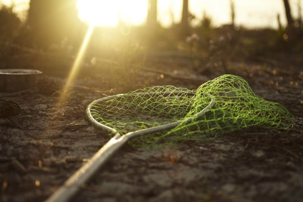 A green fishing net laying on the banks of a stream