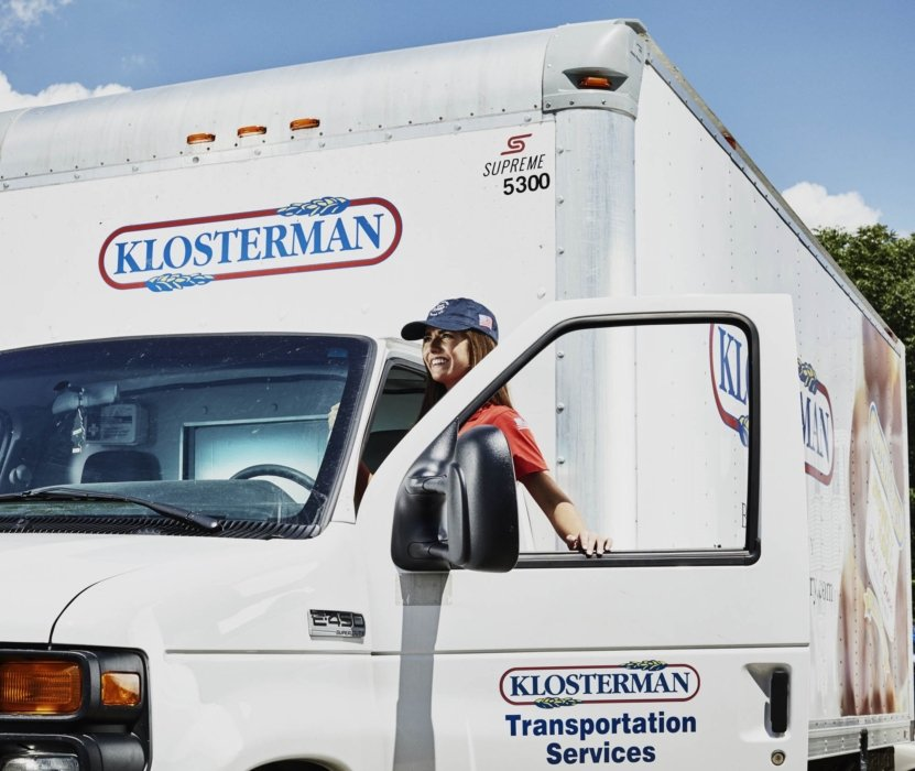 A truck driver for Klosterman getting ready to work and deliver food