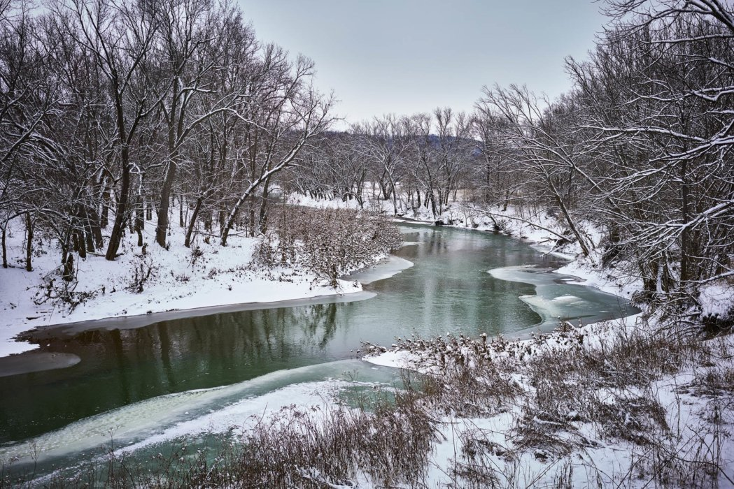 A wintery landscape with a river - nature photography