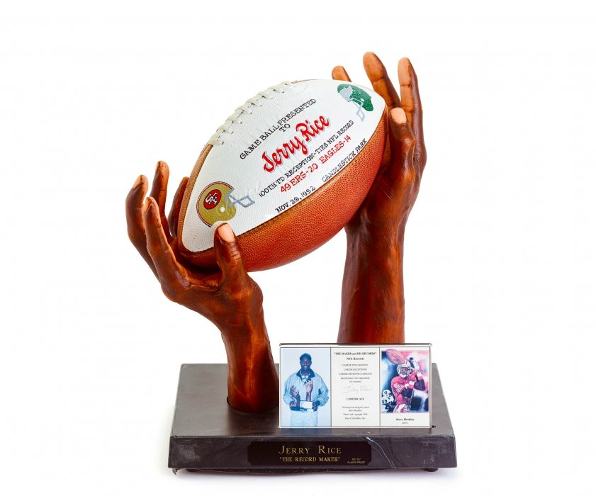 Jerry Rice Game Ball and Hands