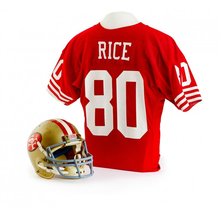 Jerry Rice's Jersey and Helmet