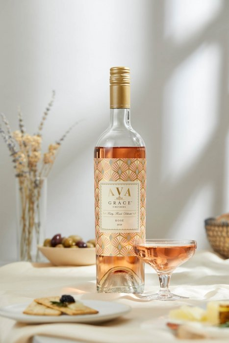 Wine product photography of Ava grace wines rose