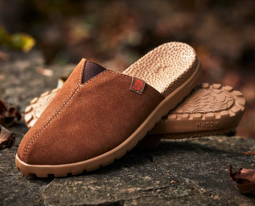 Brown shoes on a rock- product photography
