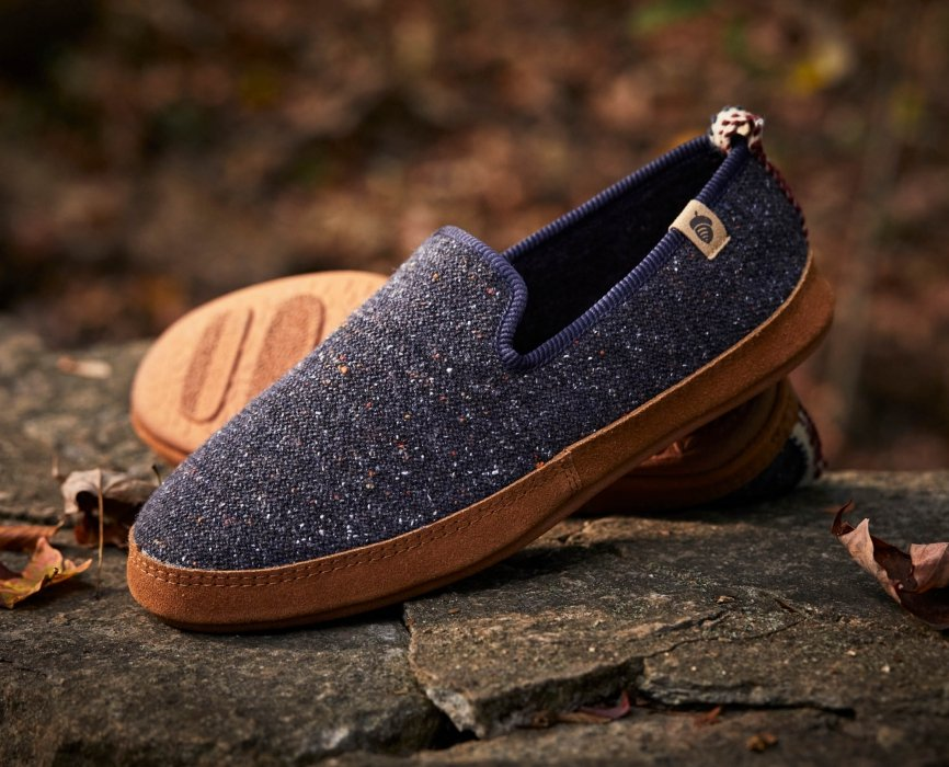 blue gray shoes on a rock- product photography