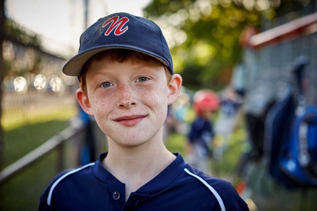 Portrait of a young man at a sports game - base ball - sport portrait photography