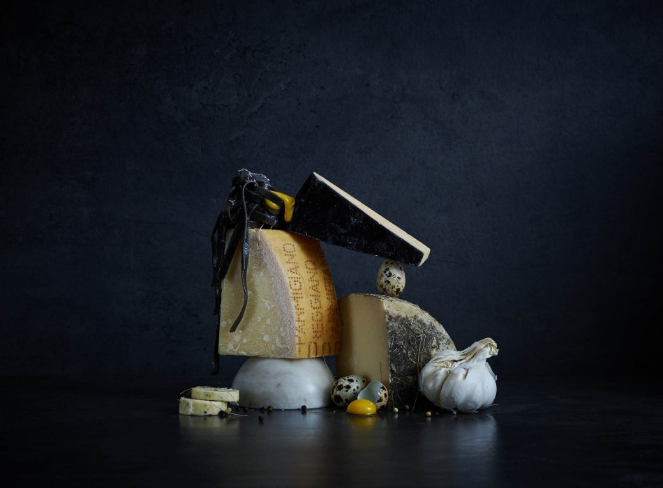 Cheese eggs and egg noodle - high end food styling - food photography