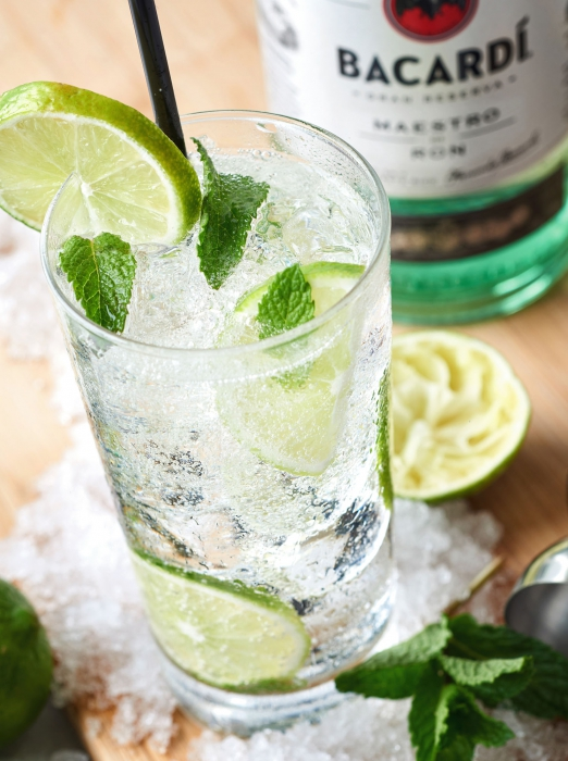 Bacardi cocktail with lime and mint - cocktail drink photography