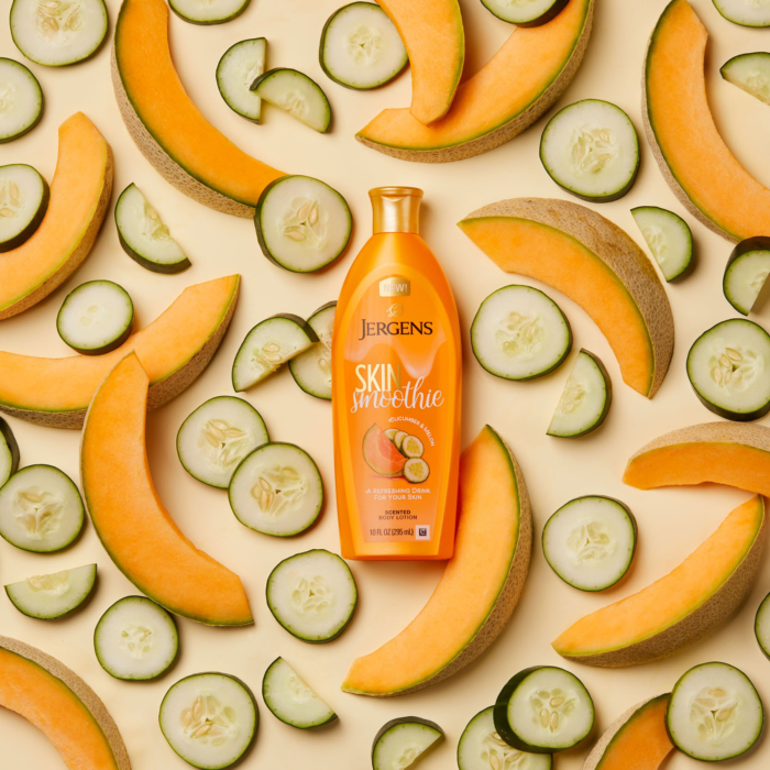 Overhead flat - cantalope and cucumber jergen smoothie body wash - Product photography